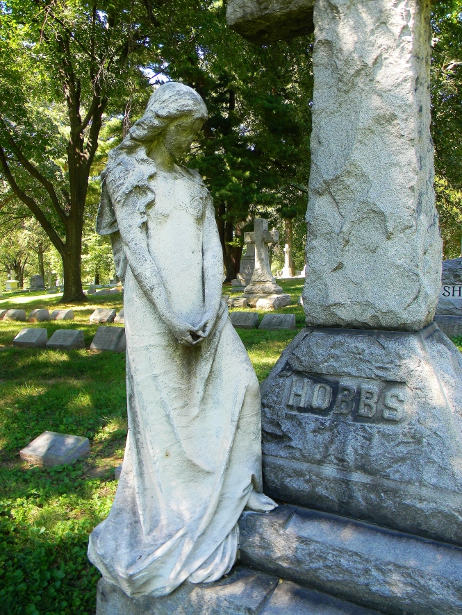 The woman who mourns the Hobbs family, Bellefontaine Cemetery.